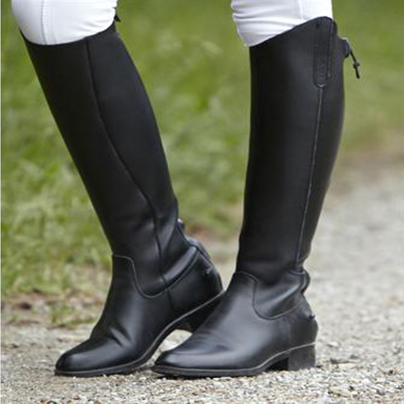 Creative  Womens Black And Nutmeg Leather Colorblock Renee Riding Boots