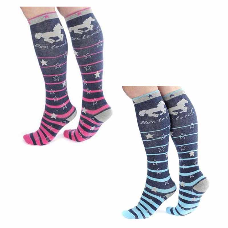 Adults Childrens Horse Riding Stripe Colourful Comfy Warm Winter Ski Knee Socks