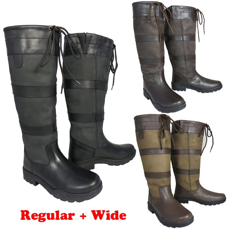 New Ladies Mens Stable Yard Riding Walking Tall Leather Country ...