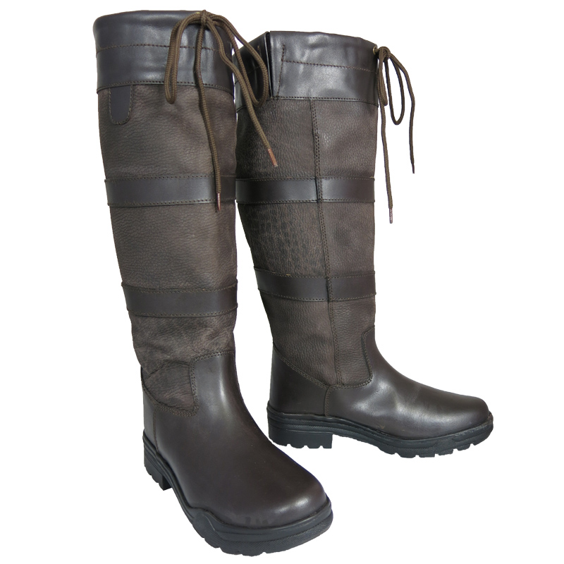 New Ladies Mens Stable Yard Riding Walking Tall Leather Country Boots Size 3-12