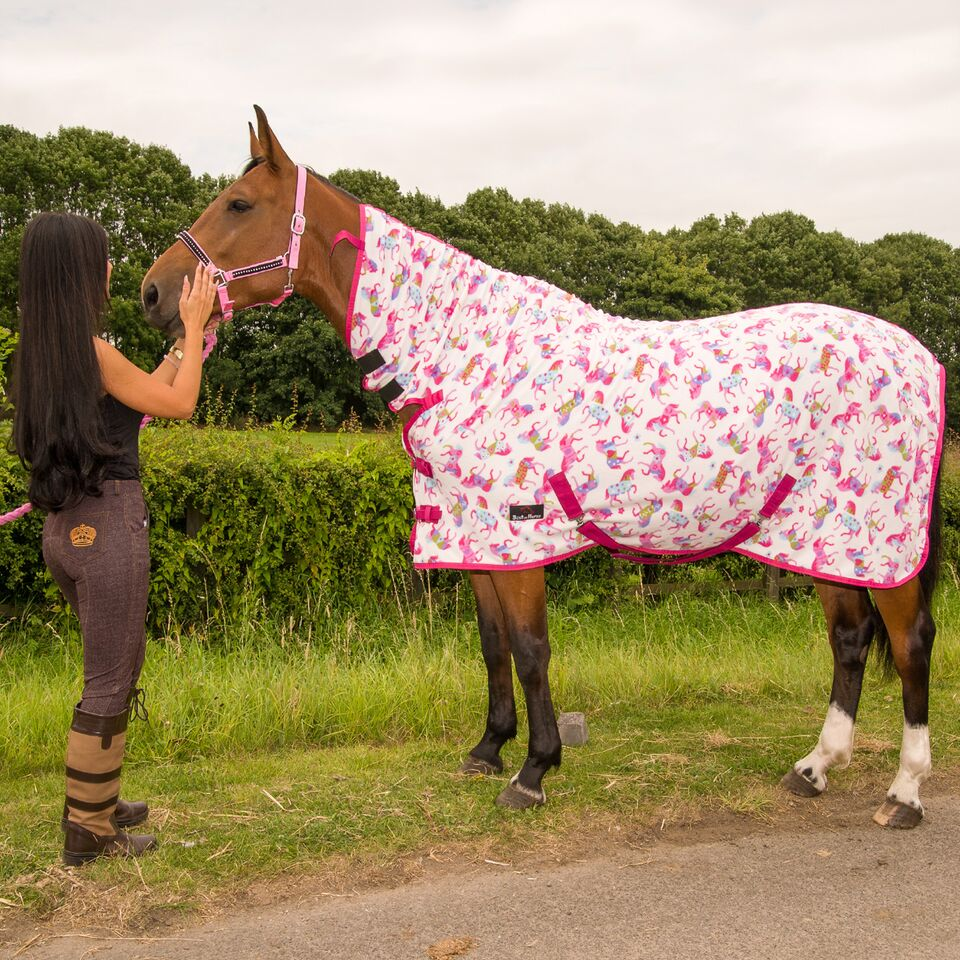 PONY-COB-HORSE-SHOW-TRAVEL-STABLE-COOLER-SHEET-PRINTED-FLEECE-COMBO-RUG-AL-SIZES