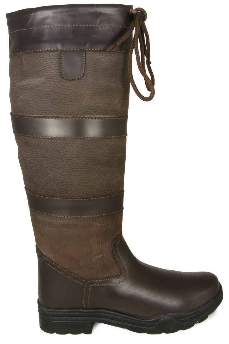 New Ladies Mens Winter Stable Leather Regular/Wide Wellington Country Boots 3-12