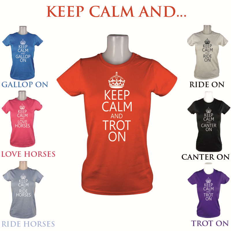 LADIES KEEP CALM CANTER TROT HORSE RIDING GIRLS JODHPURS GIFT T SHIRT SIZE XS-XL