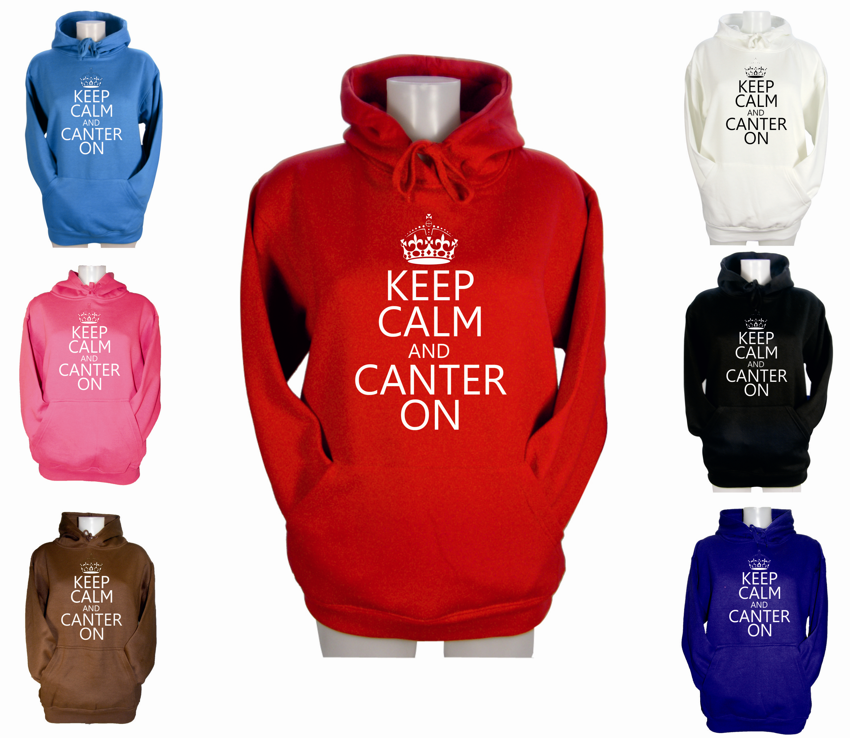WOMENS-KEEP-CALM-AND-CANTER-ON-HOODIES-GIRLS-RIDING-JODHPURS-HOODY-XS-S-M-L-XL