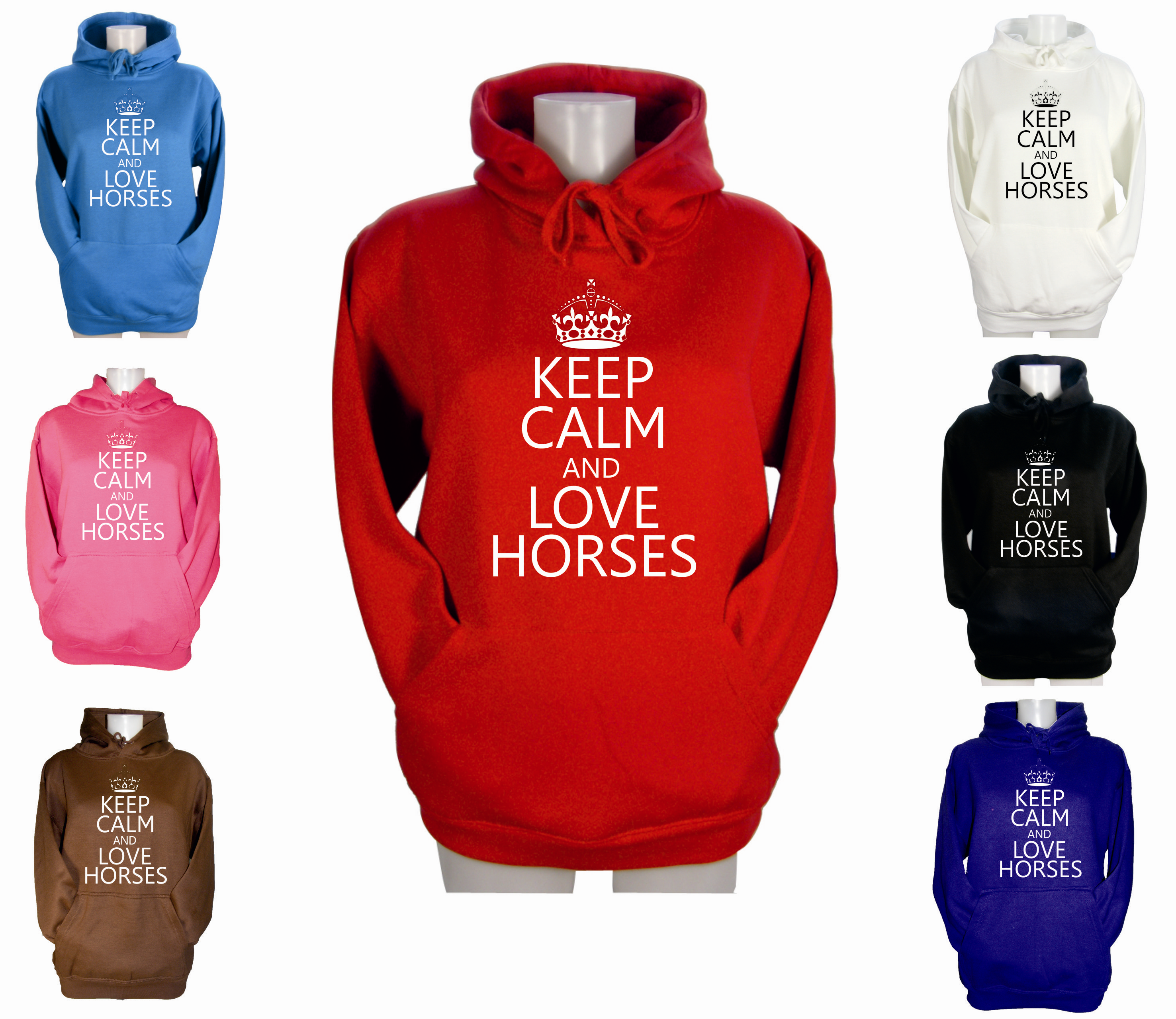 LADIES-KEEP-CALM-AND-LOVE-HORSES-HOODIE-GIRLS-PONY-RIDING-GIFT-HOODY-XS-S-M-L-XL