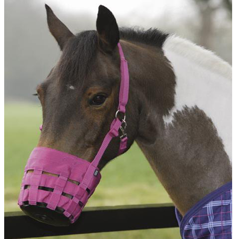 SHIRES-EQUESTRIAN-NYLON-HORSE-ANTI-GRAZING-MASK-GRASS-MUZZLE-SIZE-PONY-COB-FULL