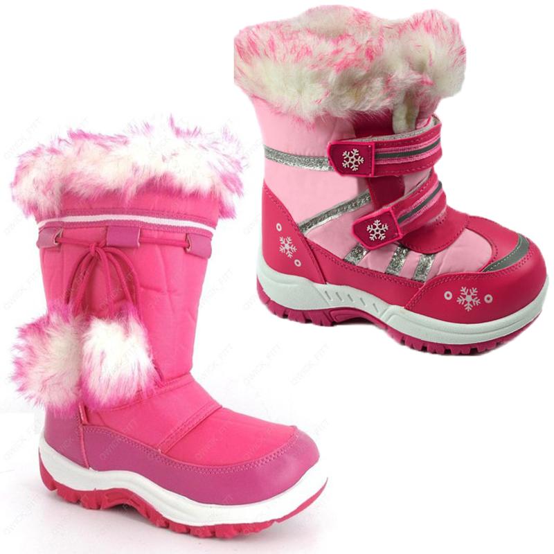 KIDS CHILDRENS WATERPROOF SOLE WINTER GIRLS SNOW MOON SKI