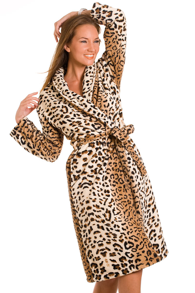 NEW LADIES SOFT LEOPARD PRINT DRESSING GOWN WOMENS FRONT ...