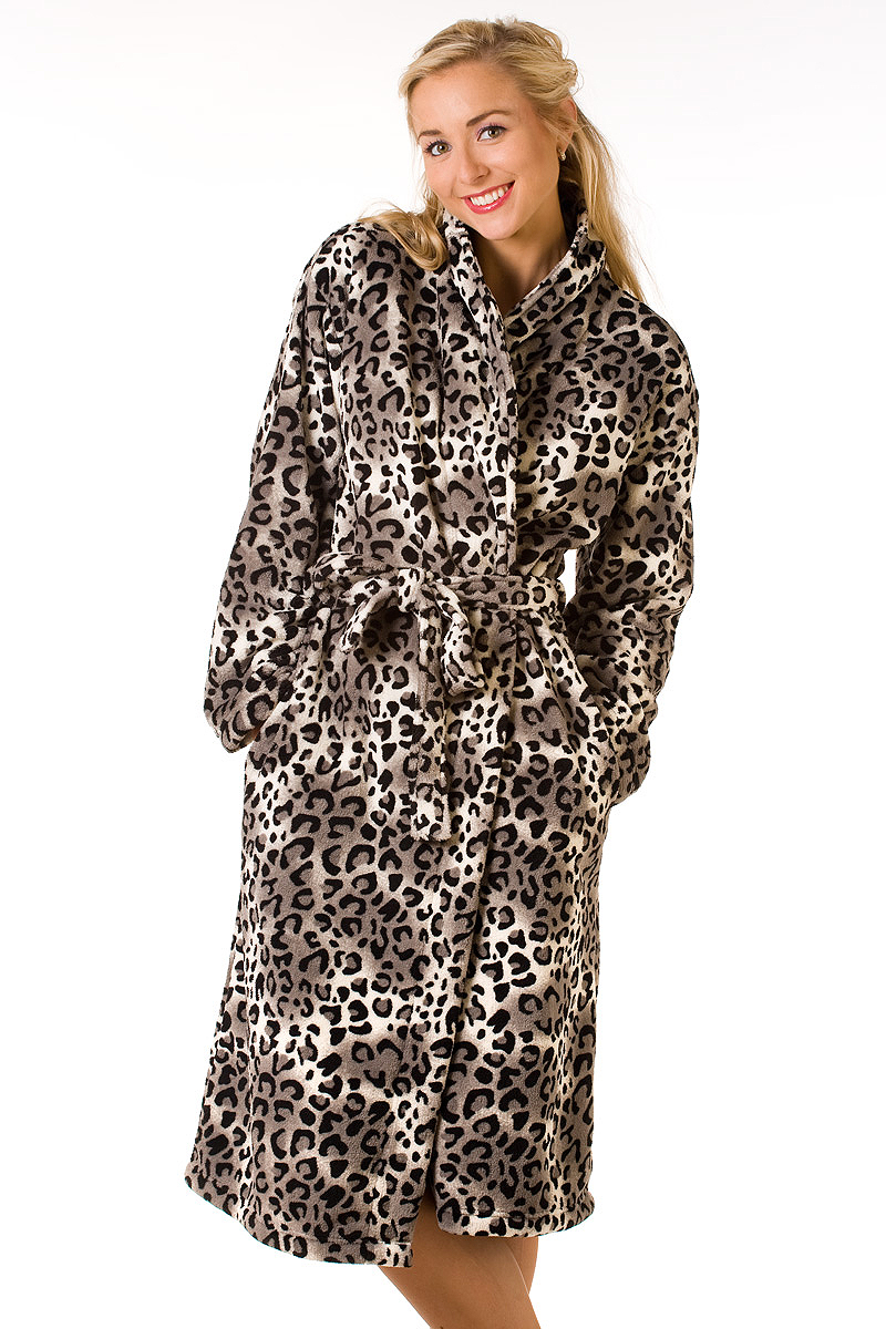 new ladies soft leopard print dressing gown womens front. Black Bedroom Furniture Sets. Home Design Ideas