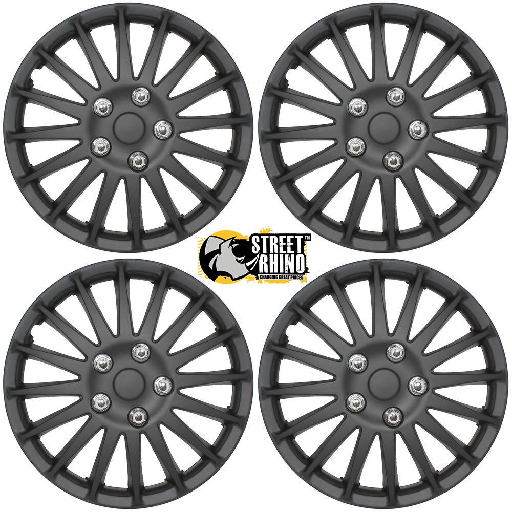 "peugeot 206 14"" stylish black lightning wheel cover hub caps x4"