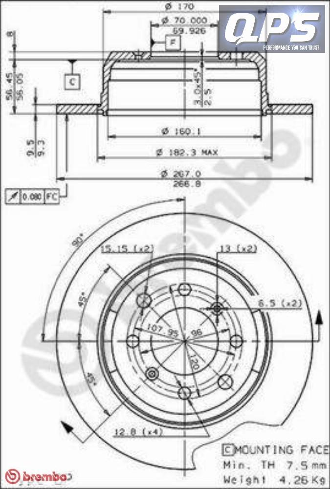 alfa romeo spider  115  1600 rear brembo brake discs 01  90