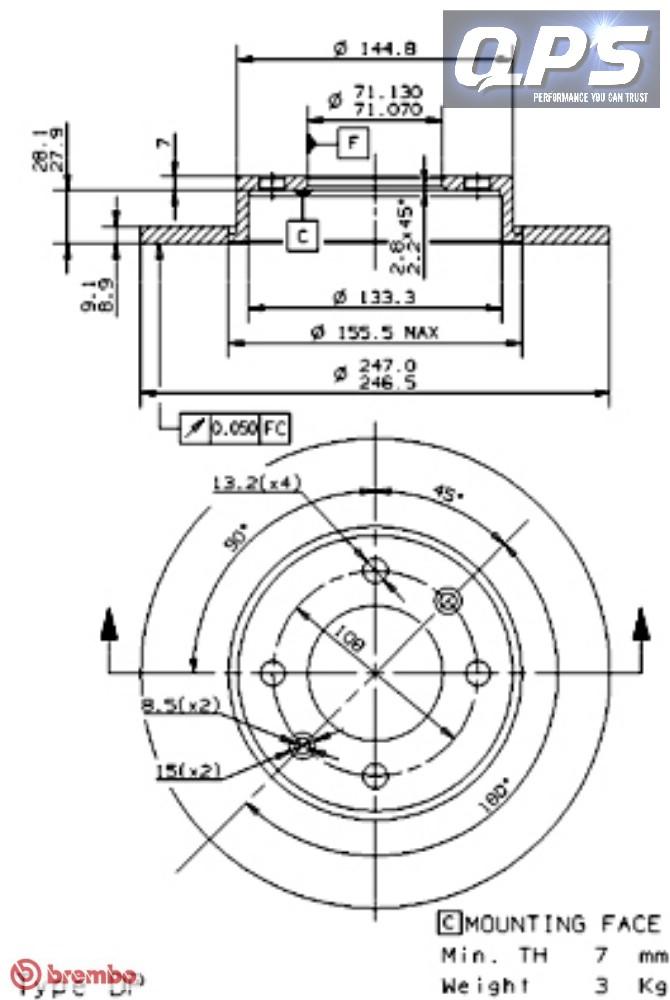 citroen xsara picasso n68 1 6 hdi rear brembo brake discs 05 04 5cca ebay. Black Bedroom Furniture Sets. Home Design Ideas