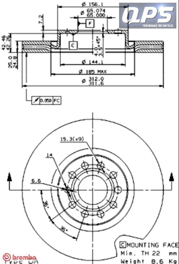 vw tiguan  5n   2 0 tdi 4motion front brembo brake discs