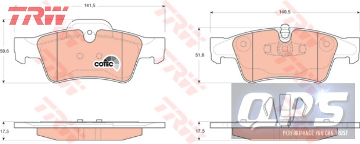 MERCEDES-BENZ GL-CLASS 5.5 TRW Brake Pad Set, disc brake, 06-00 587e