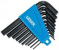 10 Pieces Laser Hex Key Set AF Black Anodized Long Life + Clip Holder 0951