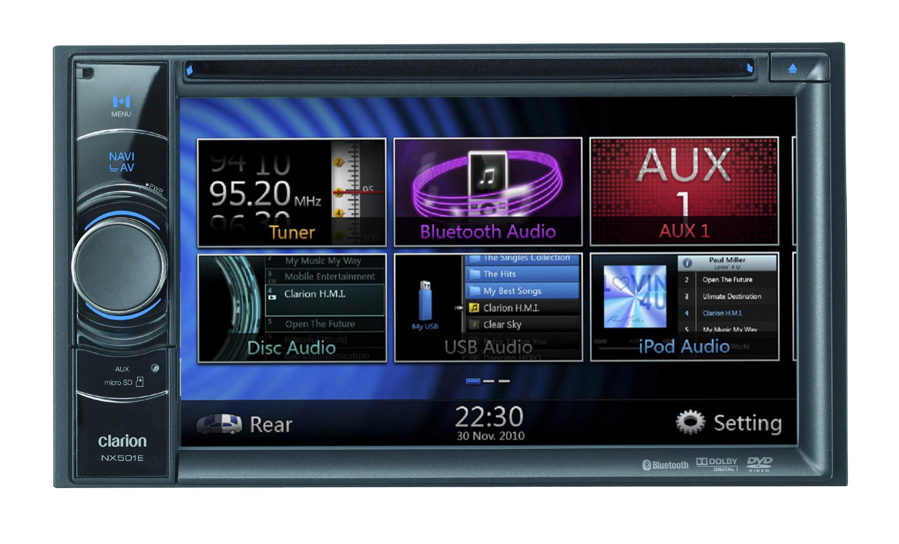 "Clarion Car Stereo: Clarion Nx501Er 6.2"" Double Din Mechless SAT NAV"