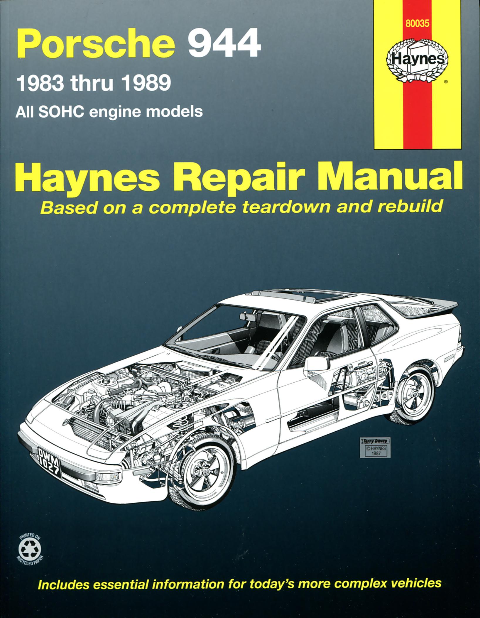 haynes owners workshop car manual porsche 944 handbook. Black Bedroom Furniture Sets. Home Design Ideas