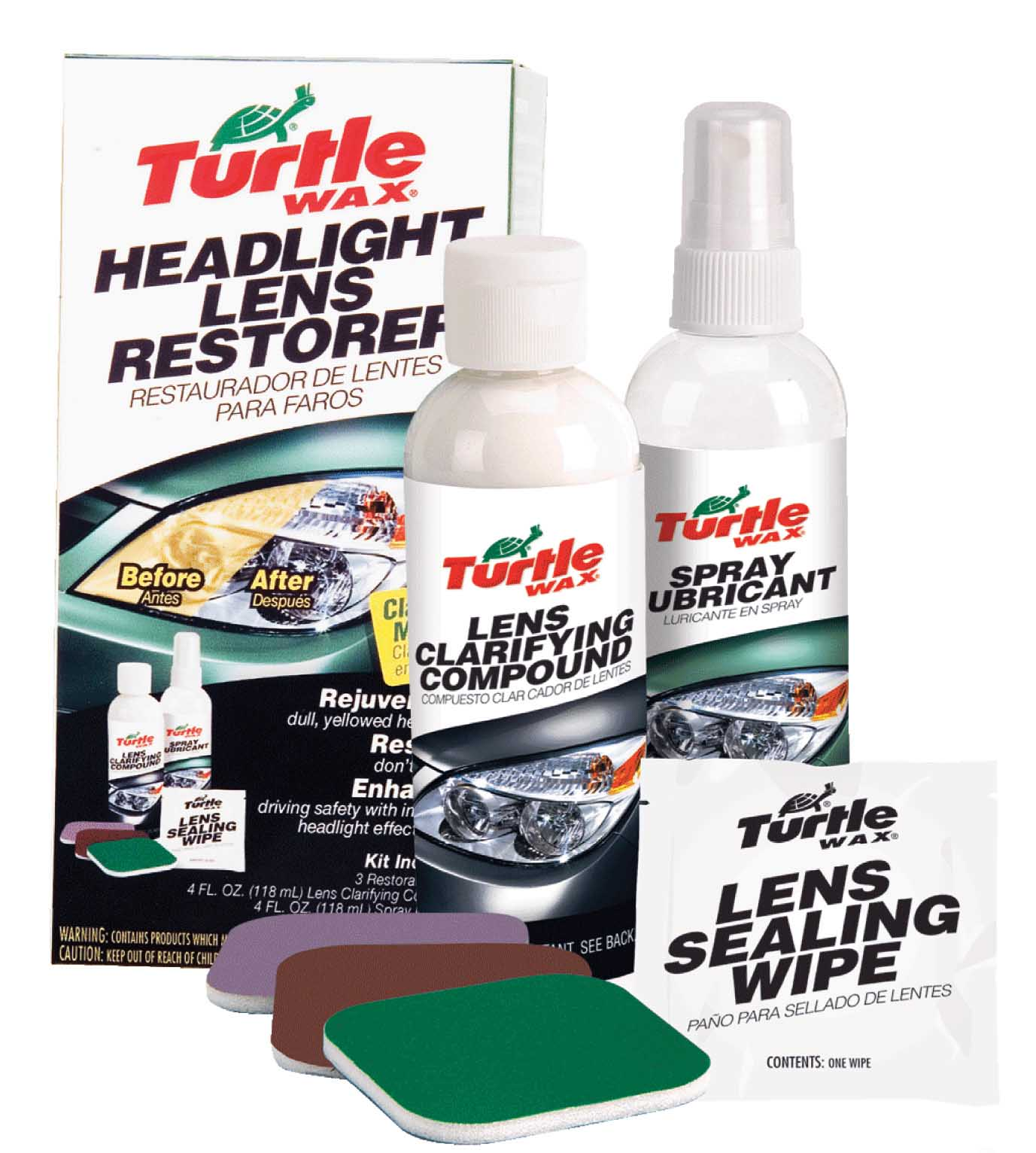 Turtle Wax Headlight Restorer Renovator Kit Repairs Dull & Yellow Lenses FG6690
