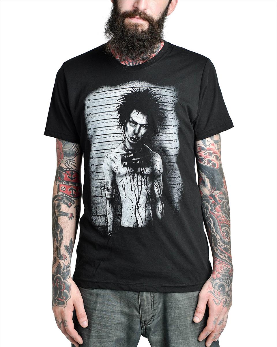 too fast clothing sid vicious mug shot mens black goth punk tattoo tee t shirt ebay. Black Bedroom Furniture Sets. Home Design Ideas