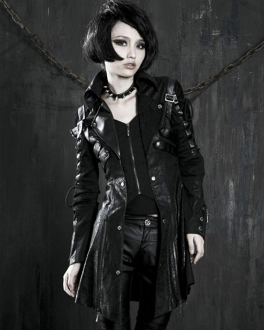 Punk Rave Black Shadow Jacket Mens Goth Steampunk Faux Leather Coat