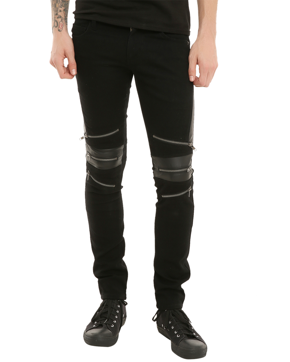 Tripp NYC Mens Skinny Jeans Black Zipper Knee Goth Moto Biker ...