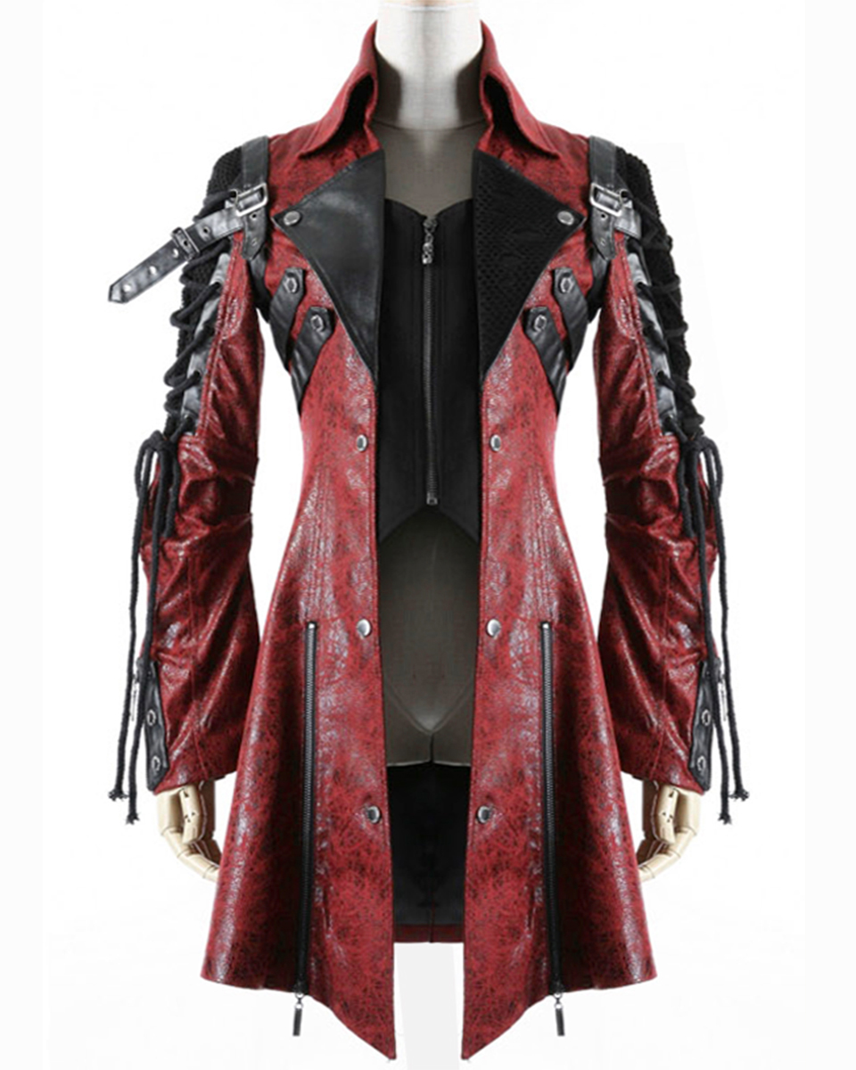 Leather jacket punk - Punk Rave Poison Jacket Mens Red Black Faux Leather Goth Steampunk Military Coat