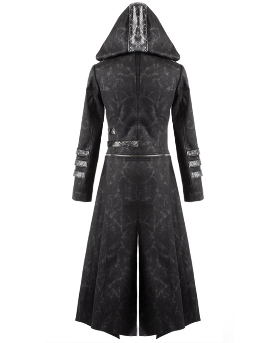 Womens black trench coat with hood