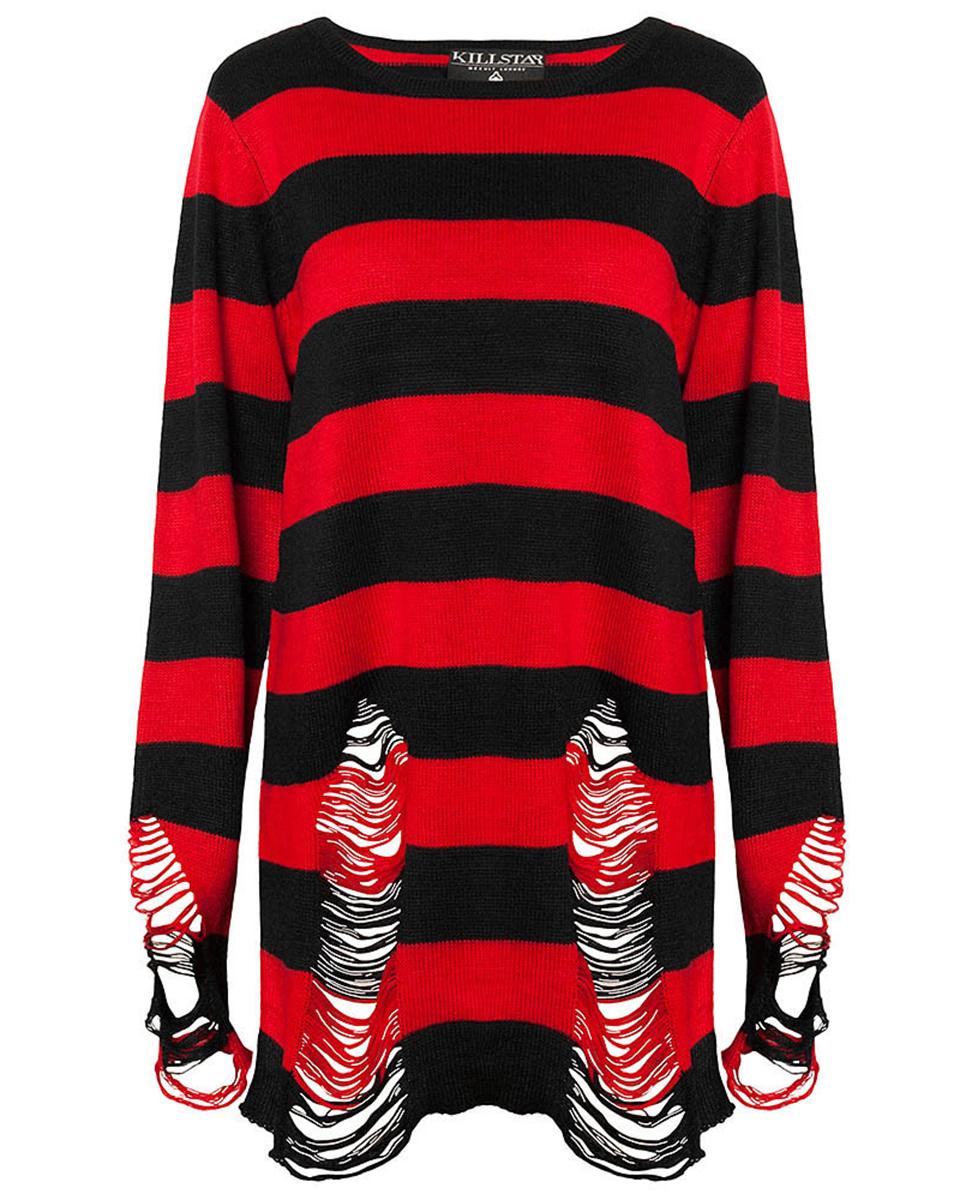 Killstar Krueger Knit Sweater Top Black Red Stripe Goth Baggy ...