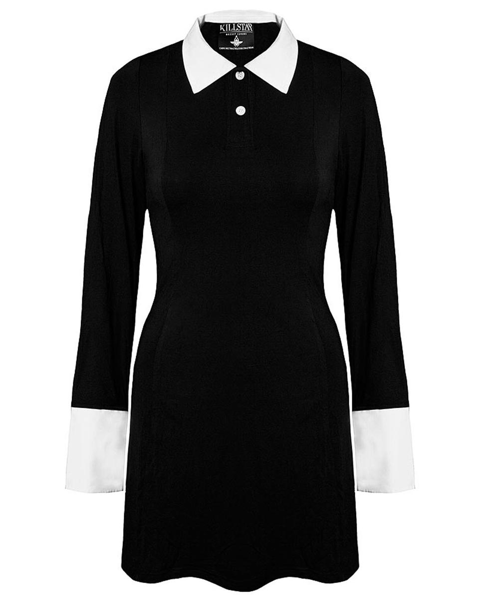 killstar mercoled famiglia addams abito nero bianco colletto manica lunga goth ebay. Black Bedroom Furniture Sets. Home Design Ideas