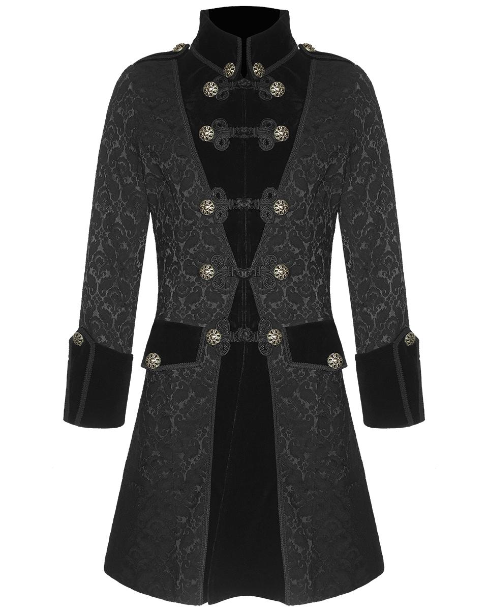 pentagramme herren brokat jacke gehrock mantel schwarz. Black Bedroom Furniture Sets. Home Design Ideas