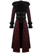 View Item RQ-BL BLACK LEGION HOODED COAT - RED & BLACK