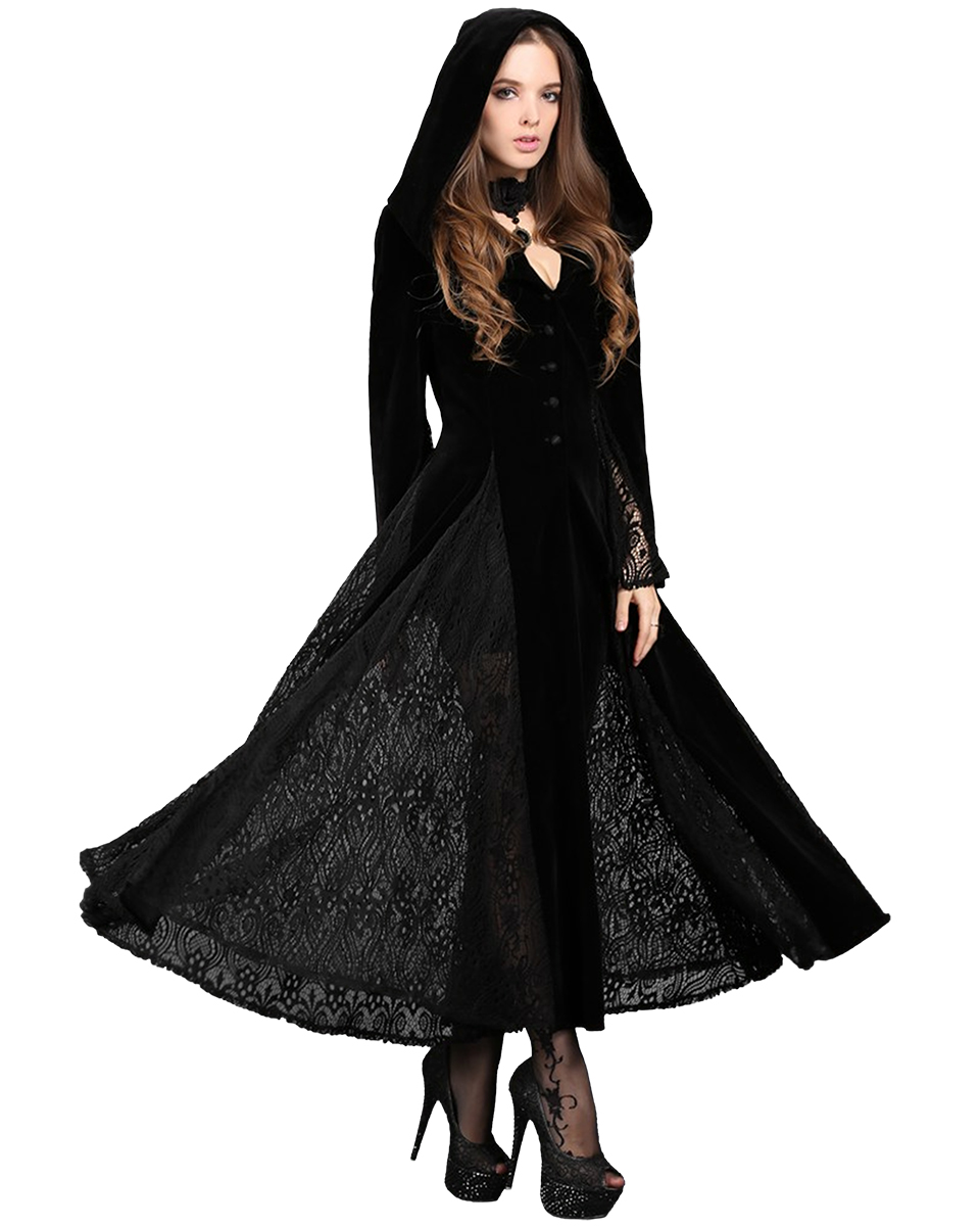 dark in love gothic hooded jacket long cloak black velvet. Black Bedroom Furniture Sets. Home Design Ideas