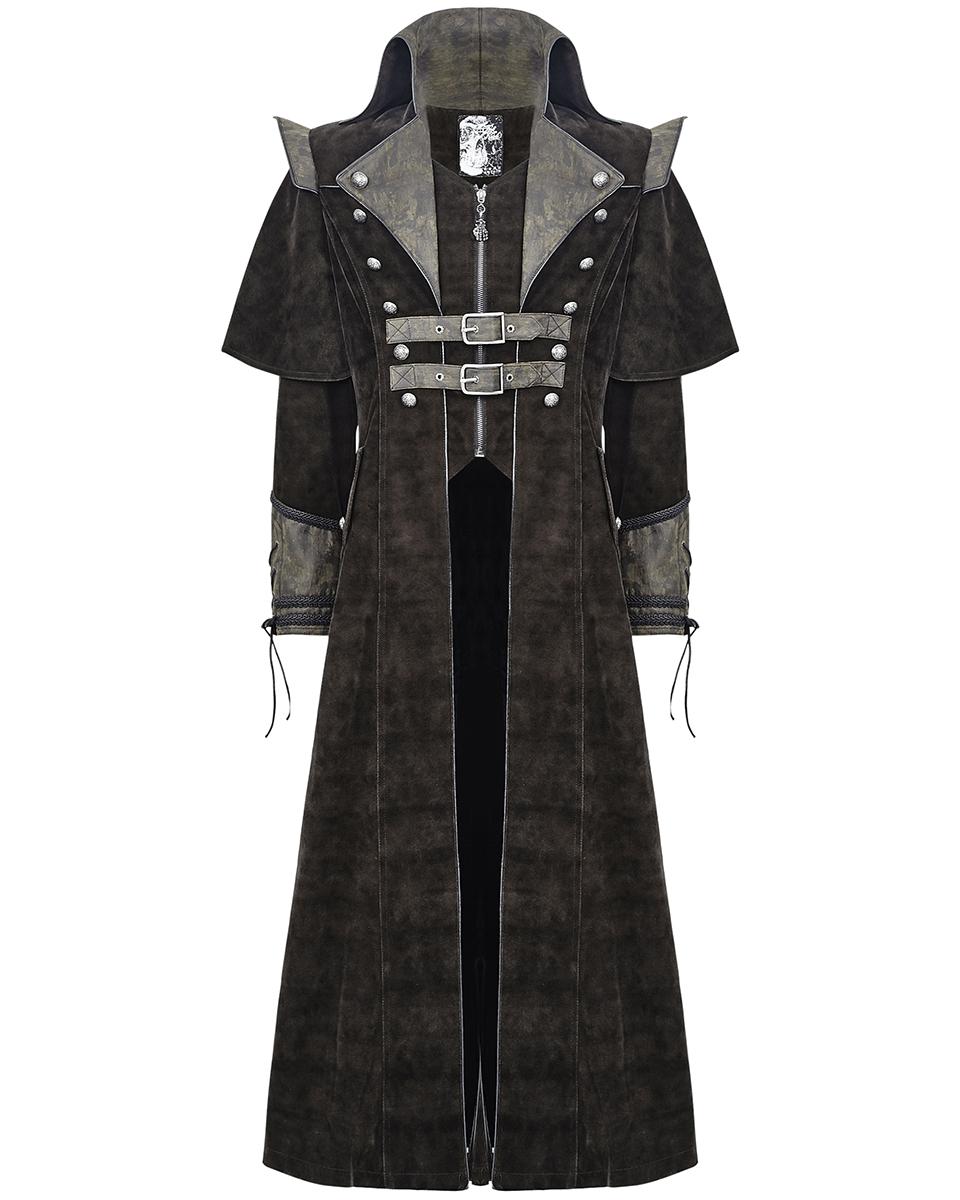 punk rave herren mantel lange jacke braun gothic steampunk. Black Bedroom Furniture Sets. Home Design Ideas