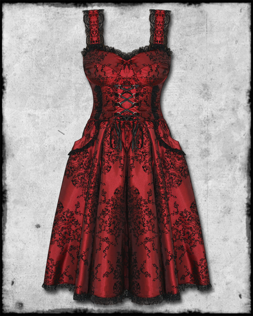 Spin doctor red black flocked goth steampunk victorian for Victorian corset wedding dresses