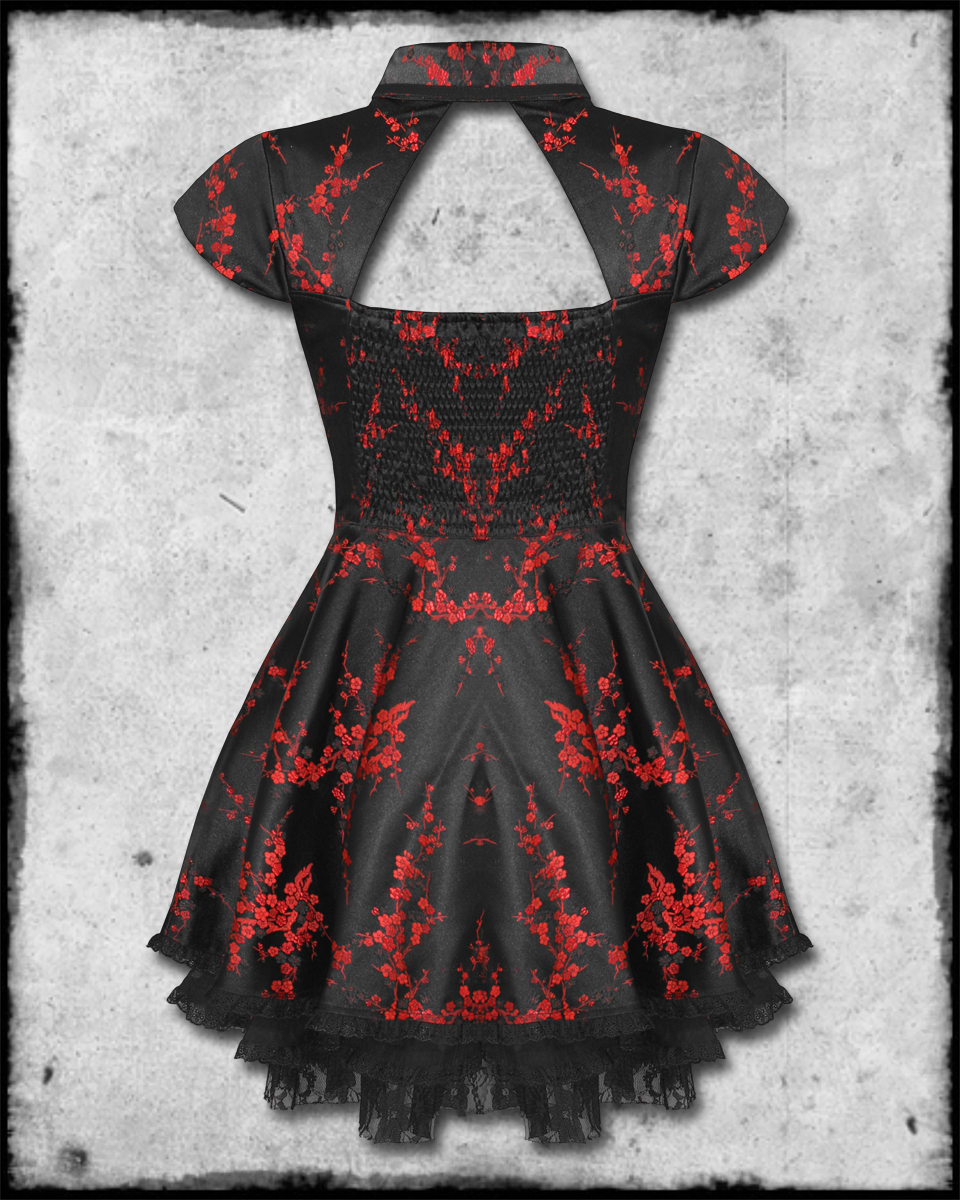 HELL BUNNY RUKA BLACK RED CHINESE FLORAL ROSE SATIN GOTH STEAMPUNK