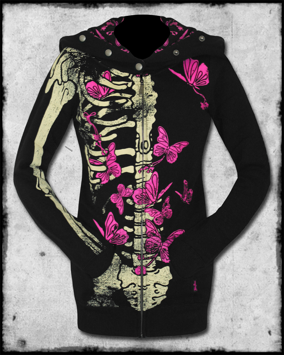 LAVIGNE ELLIE SKELLIE BLACK SKELETON RIBCAGE HOODIE HOODED TOP | eBay
