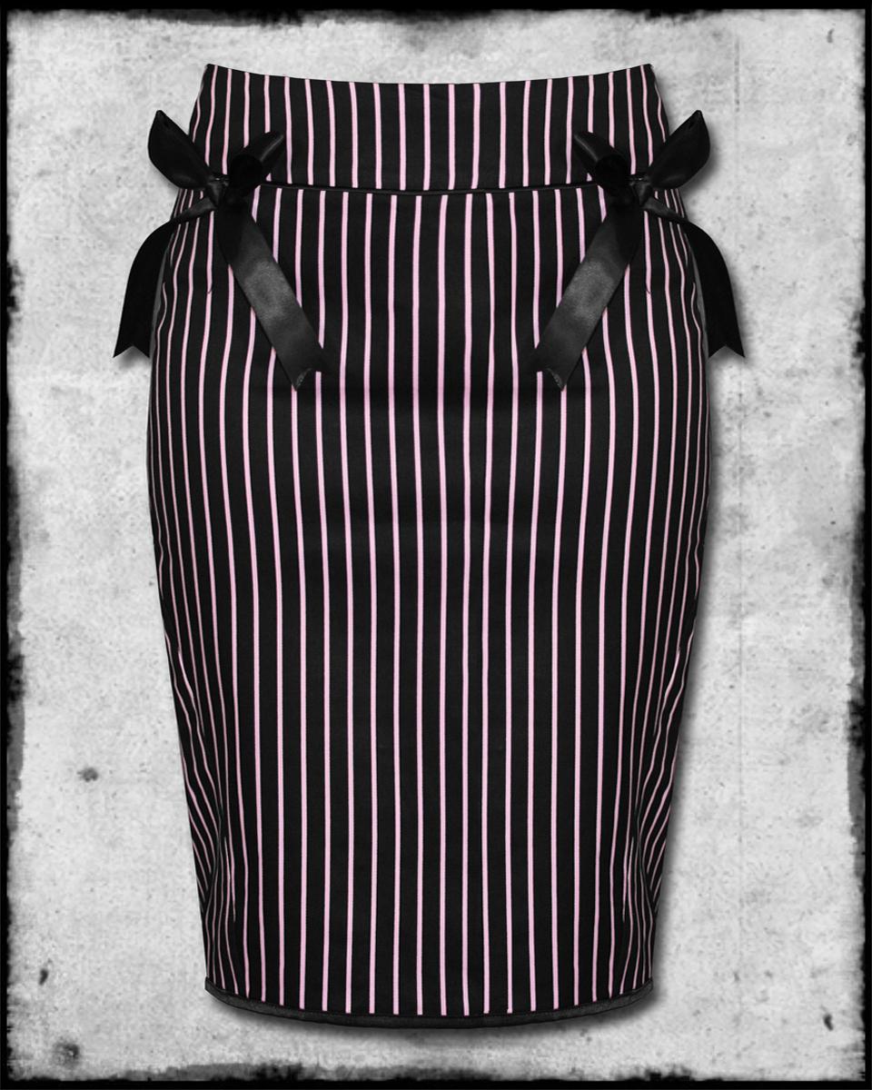 HELL BUNNY MRS JOHNSON BLACK PINK STRIPE ROCKABILLY PINUP