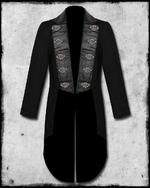 View Item SDL STEAMPUNK KEYHOLE TAILCOAT - BLACK FAUX LEATHER TRIM