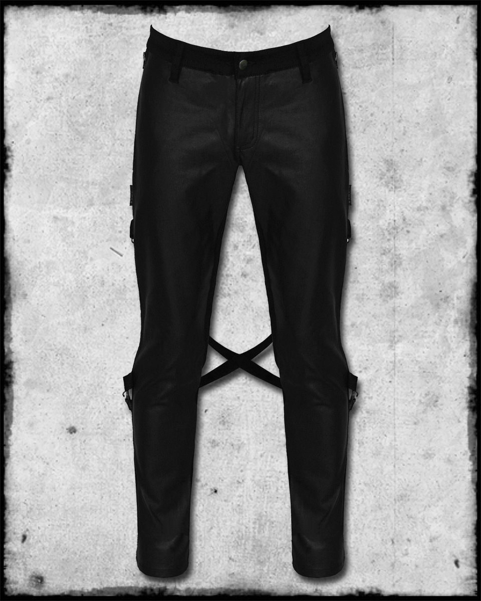 Tripp Nyc Riot Mens Black Faux Leather Front Stretch