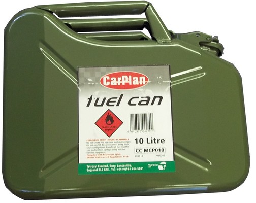 PETROL FUEL JERRY CAN CONTAINER - GREEN METAL 10L LITRES CAPACITY Enlarged Preview