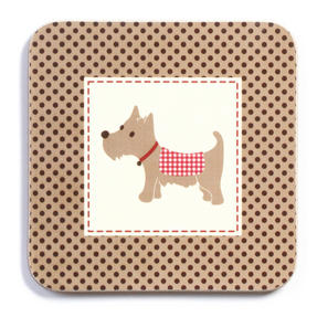 Imaje Luxury Scotty Dog Coasters, 10.5 x 10.5cm, Cork, Set of 4