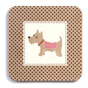 Imaje Luxury Scotty Dog Coasters, 10.5 x 10.5cm, Cork, Set of 4