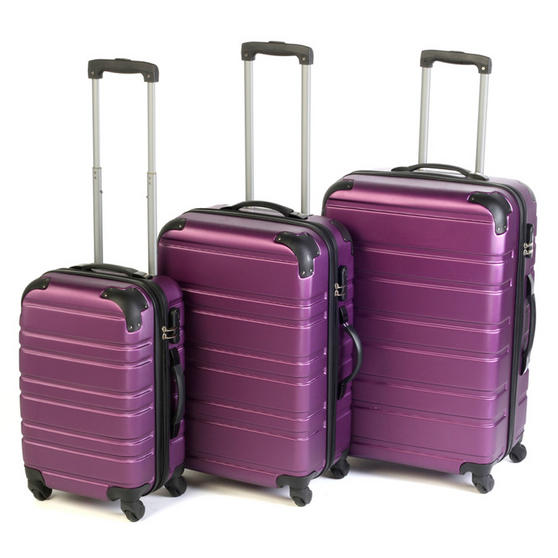 "Constellation 3 Piece Sterling Plum ABS Suitcase Set 20"", 24"" & 28"""