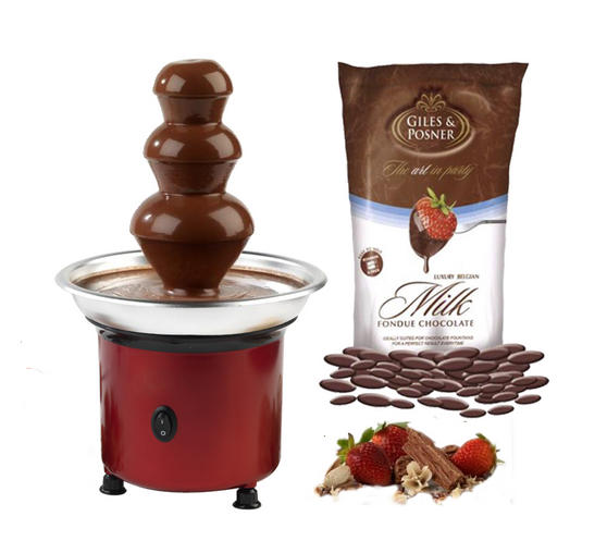 Giles & Posner Red Party Chocolate Fountain with 450g Milk Fondue Chocolate
