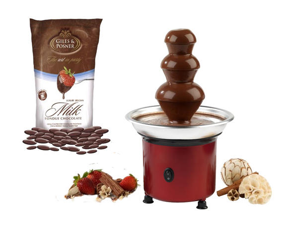 Giles & Posner Mini Red Chocolate Fountain with Belgian Milk Fondue Chocolate