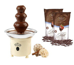Giles & Posner Cream Party Chocolate Fountain with 2x 450g Milk Fondue Chocolate