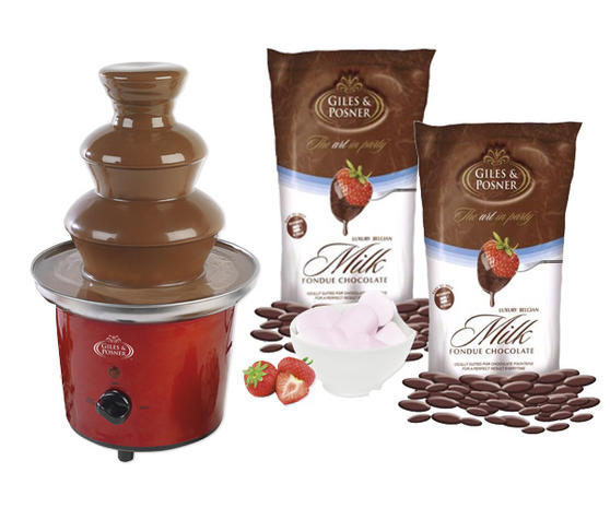 Giles & Posner Deluxe Red Chocolate Fountain with 900g of Belgian Chocolate