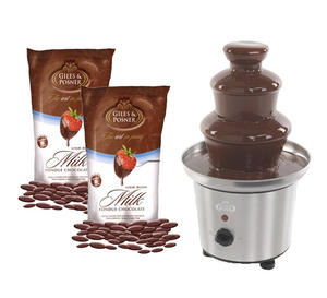 Giles & Posner Silver Premier Chocolate Fountain & 900g Belgian Milk Chocolate
