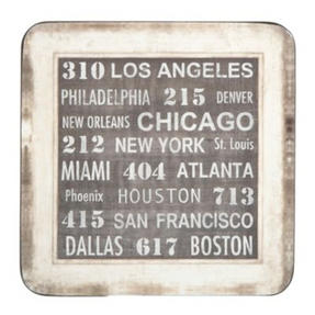 Inspire BCH234278 Luxury USA City Printed Coasters, 10 x 10cm, Hardboard, Blue, Set of 4