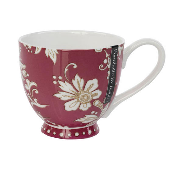 Portobello CM02350 Sandringham Lexi Burgundy Bone China Mug